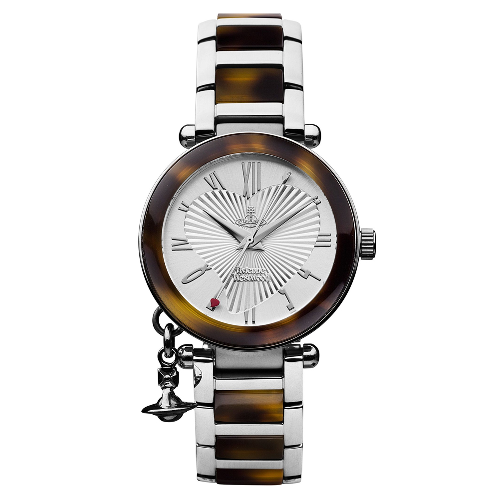 Vivienne Westwood Orb Ladies' Silver Watch with Tortoiseshell Bracelet Strap | VV006SLBR