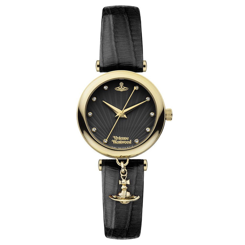Vivienne Westwood Trafalgar Ladies' Black Leather Strap Gold Watch | VV108BKBK