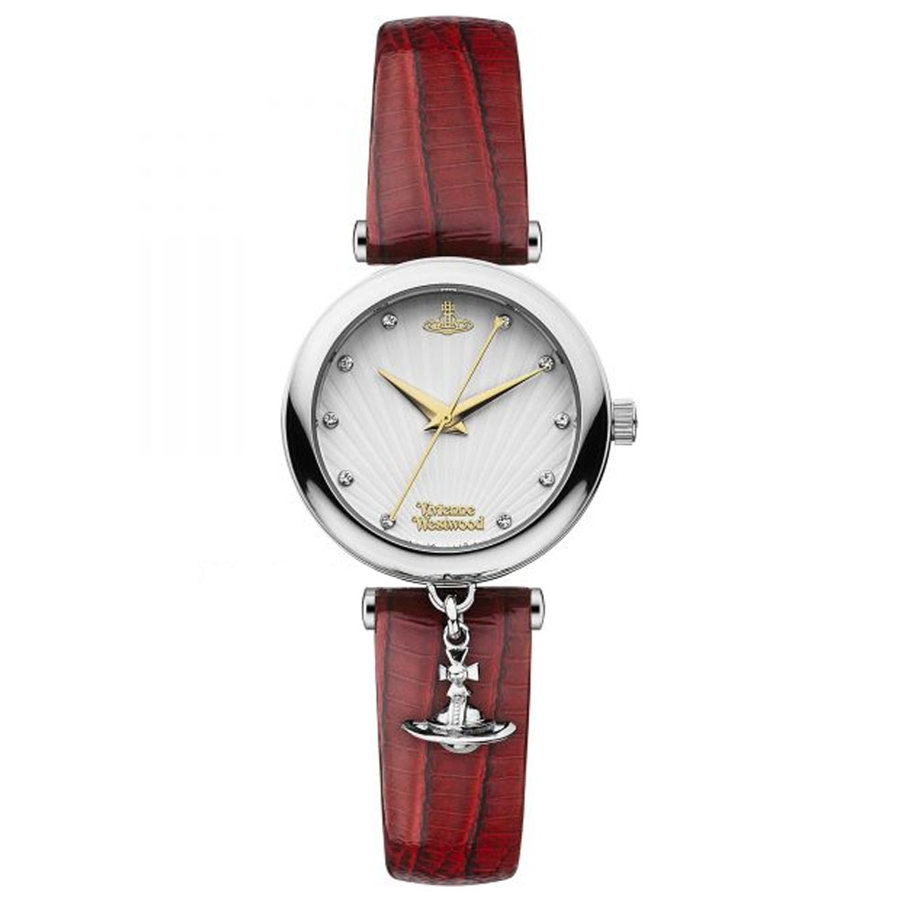 Vivienne Westwood Trafalgar Ladies' Silver Watch with Red Leather Strap | VV108WHRD