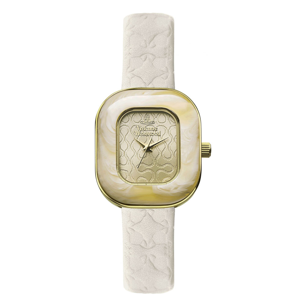 Vivienne Westwood Tourte Ladies' Cream Leather Strap Gold Watch | VV112GDCM