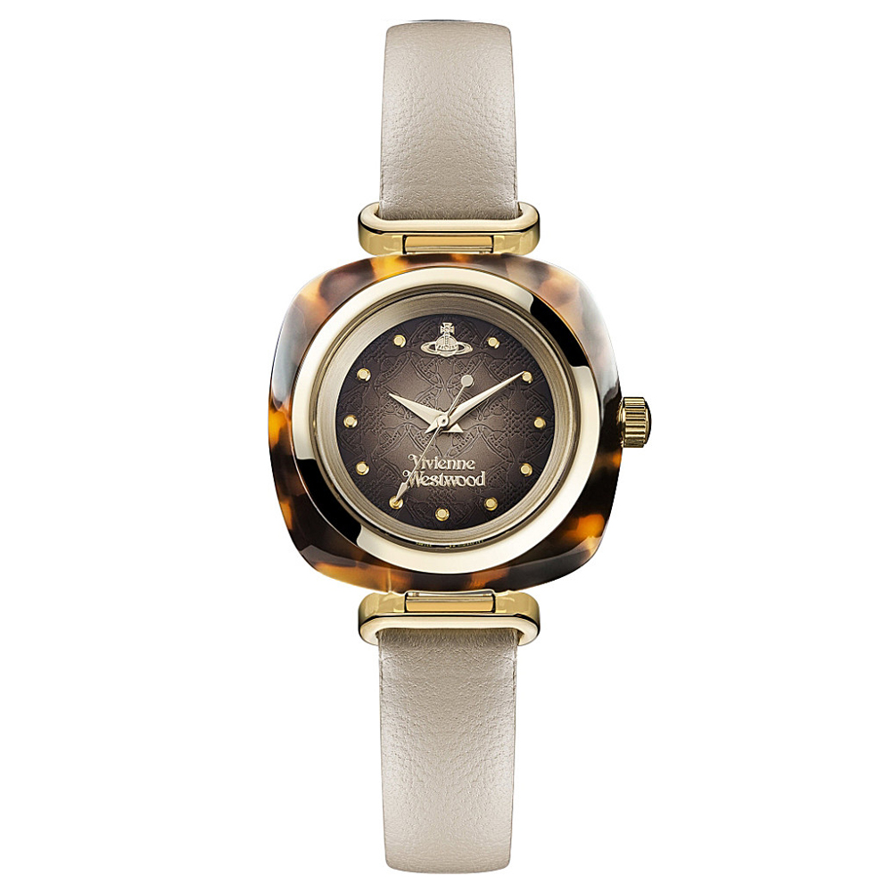 Vivienne Westwood Beckton Ladies' Yellow Gold Watch with Cream Leather Strap | VV141BG